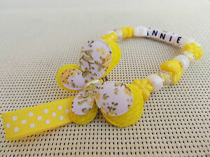 Personalised Stunning butterfly Dummy Clip Chain Any Name for reborn dolls gf