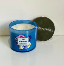 NEW! BATH & BODY WORKS 3-WICK SCENTED CANDLE - LINEN & LAVENDER - SALE
