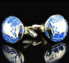 Classic Blue Earth Cufflinks Men's Wedding Party Club Gifts Shirt Cuff Link
