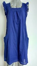 WHISTLES pinafore dress size 10 100% Cotton royal blue ruched sleeves lined