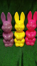 VNTG EASTER BUNNY BLOWMOLD CANDY HOLDERS YELLOW / PURPLE / PINK FREE SHIP