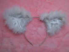 White Cat Ears With White Silk Inners And Fluffy Feather Trim Cat Fancy Dress