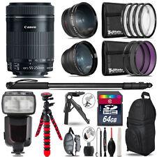Canon 55-250mm IS STM - 3 Lens Kit + Professional Flash - 64GB Accessory Bundle