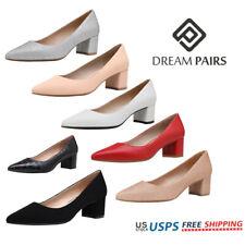 DREAM PAIRS Women's Classic Chunky Low Block Heels Closed Toe Dress Pumps Shoes