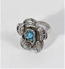 Box Ring - Size 7 - Vintage Unsigned - Sterling Silver Bisbee Turquoise Shadow