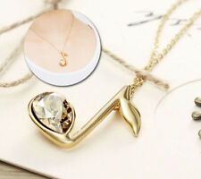 Made With Swarovski Crystal Gold Plated Champagne Music Note Necklace Pendant