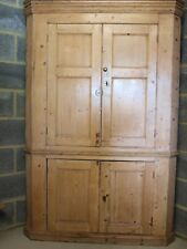 ANTIQUE EARLY 19TH C  LARGE PINE CORNER CUPBOARD