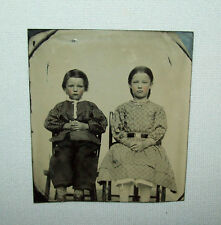 Old Antique Vtg 1860s Tintype Photo of Two Children Boy and Girl in Chairs Nice