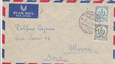 TRIPOLITANIA-UNITED KINGDOM OF LIBYA-3+30 mills-Busta aerea per Monza 28.3.1956
