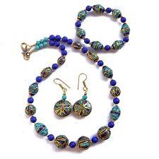 Turquoise Lapis Jewelry Necklace Set Tibetan Nepalese Handmade Tibet Nepal
