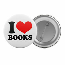 """I Love Books - Badge Button Pin 1.25"""" 32mm Book Lover Reading Book Club"""