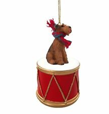 Airedale Terrier w/ Drum Dog Christmas Ornament Holiday Figurine Scarf gift
