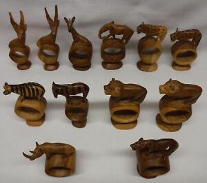 Set of 12 Teak Wood Napkin Holder Rings Wild Animals Hand Carved Kenya Africa