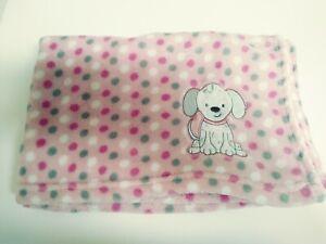 "Snugly Baby ~ Plush Baby Blanket Pink Polka Dots Puppy Dog ~ 30 x 35"" ~"