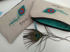 Handmade Personalised Peacock Feather Coin Purse/Wallet or Pencil Case Linen
