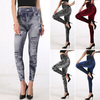 Damen Elastisch Leggings Denim-Look Stretch Slim Jeans Hochbund High Waist Hose