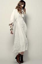 NEW Free People Modern Kimono Sleeve Lace Up Maxi Dress Pearl White Sz 2 $168