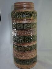 VINTAGE West GERMAN ceramica grande vaso Pavimento Verde & Marrone Retrò da colorare