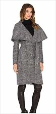 NWT ZAC POSEN WOMEN Sz4 ALISHA OPEN COLLAR BELTED WRAP COAT  MOONSTONE