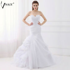 Vnaix ~ White Organza Strapless Tiered Ruffles Mermaid Bridal Gown 10 NEW $108