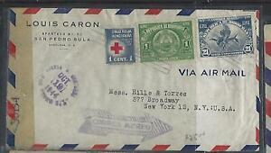 HONDURAS  COVER (P2709B) 1944 CENSOR A/M COVER 1C RED CROSS+1C+21C TO USA