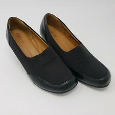 Euro Soft by Sofft Women Sz 8 M Nadalee Black Leather Stretch Wedge Comfort Shoe