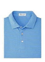 Peter Millar Mens Shirt Deep Blue Size Large L Polo Striped Stretch $94 990