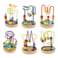 Wooden Colorful Roller Coaster Educational Circle Bead Maze Toy for Toddlers
