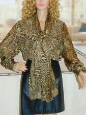 6 ADRIANNA PAPELL 100% Silk Leopard Print Shirt Tie Neck Long Sleeves