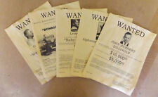 Set of 5 Gangster Wanted Posters Capone Dillinger Bonnie Clyde More