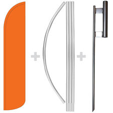 Solid Orange 15' Tall Windless Swooper Feather Banner Flag & Pole Kit