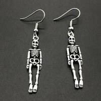 Women Vintage Halloween Skeleton Skull Drop Dangle Earrings Jewelry Party Gift