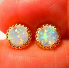 GORGEOUS  WHITE    FIRE OPAL  GOLD  PLATED  STUD  EARRINGS