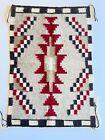 "Vintage NAVAJO RUG Indian Weaving Geometric Dazzler Native Saddle Blanket 31x21"""