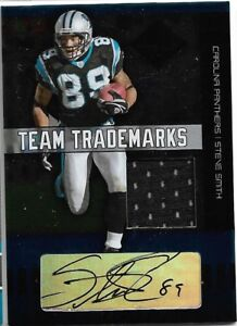 """2004 Donruss Steve Smith Sr. """"Team Trademarks"""" Patch Auto ON-CARD /50 Panthers"""