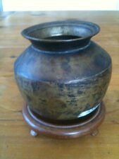 """VINTAGE ROUND BASED BRONZE POT 3 1/2"""" TALL + STAND"""