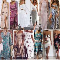 Womens Summer Sleeveless Cocktail Party Maxi Long Beach Dress Boho Sundress Lot