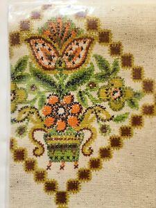 Tex-knit vintage laundry bag Fahionette NOS 19X30 Green orange Brown 1970s draw