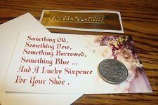 1956 BRITISH LUCKY WEDDING SIXPENCE Keepsake Luck & Prosperity Coin, Floral Card