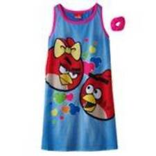 NWT $32-Girls Angry Birds 2 Pc Blue Summer Nightgown Pajamas & Scrunchie- 10/12