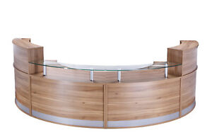 Full Height Reception Counter Radial Section (WxDxH) 1339x872x730-1160mm