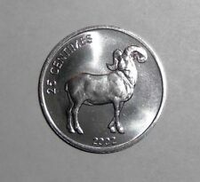 2002 Congo 25 centimes, Oryx Ram, Lion, animal wildlife coin