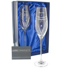 Personalised Hand Cut Heart Pair of Champagne Flutes w/ Swarovski Elements Gift
