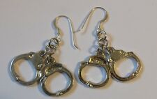 HANDCUFF EARRINGS - CHROME HAND CUFF EAR RINGS