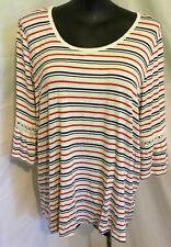 """AUTOGRAPH WHITE/RED/BLUE """"3/4 BELL SLEEVE"""" T-SHIRT TOP SZ 22-NEW IN!!! AUTOGRAPH"""