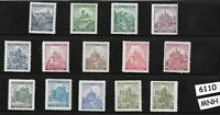 #6110   Full MNH WWII stamp set / B a M German Occupation / Castles & Cathedrals
