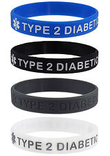 TYPE 2 DIABETIC Medical Alert ID Silicone Bracelets Adult Size (4 Pack)