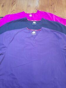 Lot of 3 Dickies Scrubs - Purple, Pink, Black - Size 2XL -