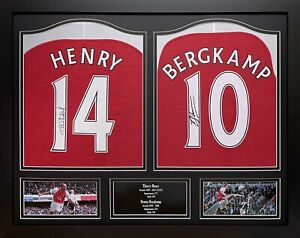 THIERRY HENRY & DENNIS BERGKAMP 2 FRAMED SIGNED ARSENAL FOOTBALL SHIRTS & PROOF