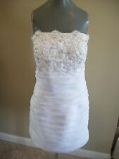 Short White Knee Length Strapless Bridal Dress Wedding Gown Plus Size 14 16 18